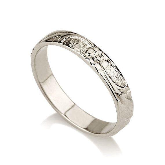 Amazing Thin k White Gold flower Wedding Band ring gold wedding ring Vintage women wedding