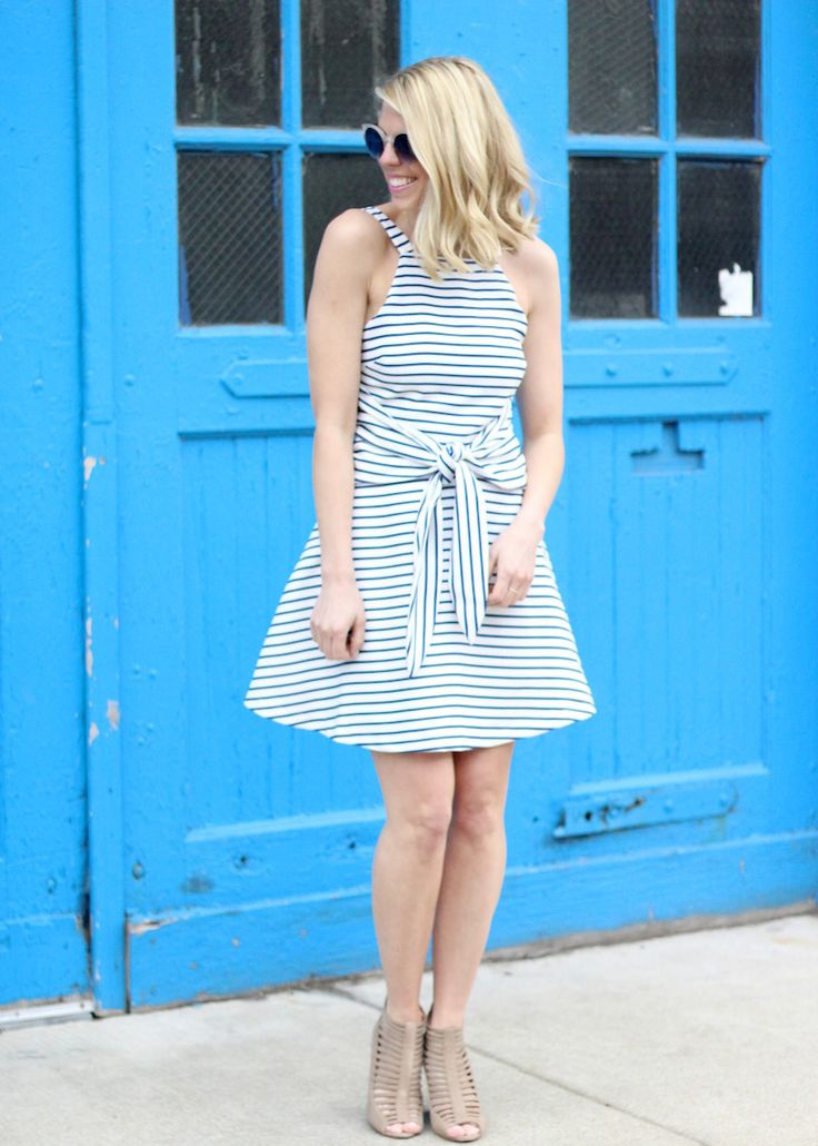 Nautical spring dress with a front tie