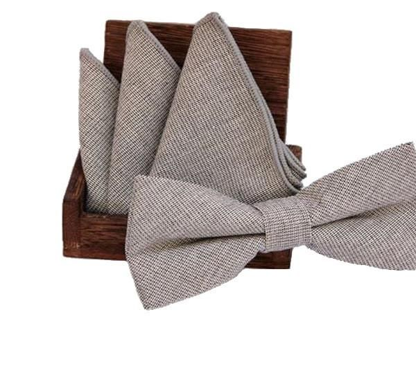 Grey Cotton Bow Tie & Pocket Square