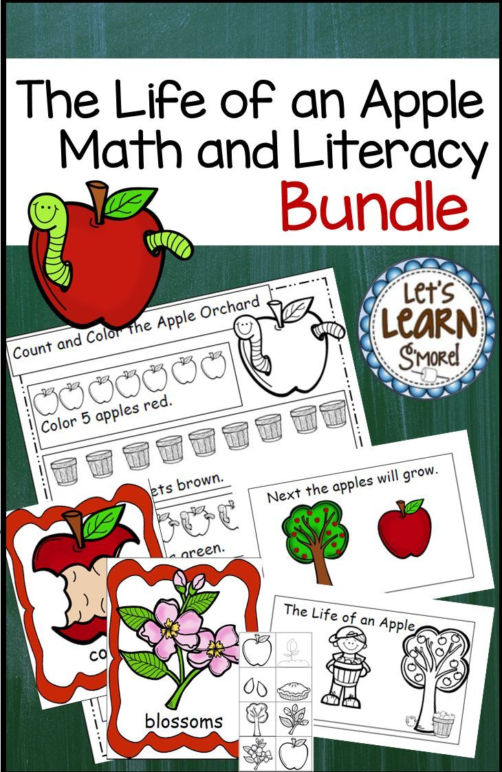 These apple math and literacy activities are perfect for your apple life cycle unit, Johnny Appleseed theme or fall theme. Includes emergent reader, with cut and paste version, math pages, write the room posters and writing activities, and learning cube, roll graph and count.Geared toward preschool, kindergarten and first grade, made with standards in mind. Let's Learn S'more!
