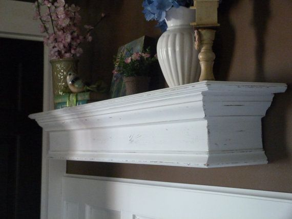 "White Mantle, 48""L Distressed Rustic White Mantle ..."