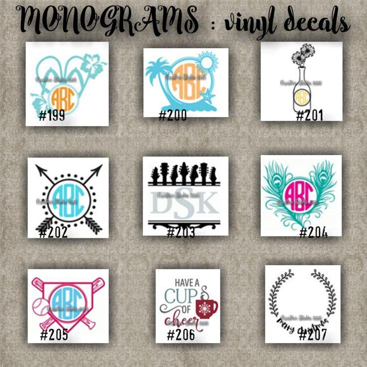 MONOGRAM vinyl decals | name | initial | decal | sticker | car decals | car stickers | laptop sticker - 199-207