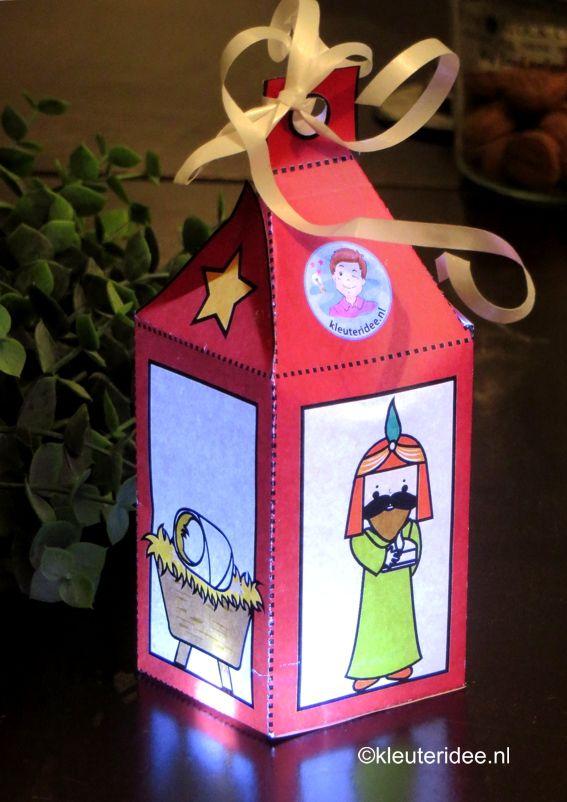 Lantaarn voor kerst knutselen, met afbeelding van de wijzen uit het oosten, voor werkblad, ga naar kleuteridee.nl, free printable.