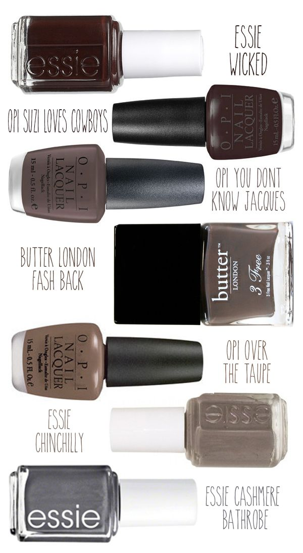 I'm wearing Essie Wicked right now! :)   Best gray, taupe and brown nail polish colors! stylingmyeveryday.com