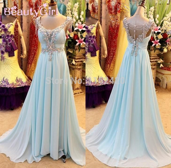 Real Image 2015 Luxurious Light Sky Blue V Neck Floor Length Open Back Beading Crystal Prom Dresses Custom Made