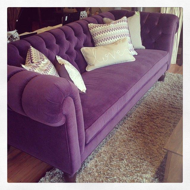 Beautiful purple velvet Tristan sofa. @moderncountry www.moderncountrysask.com Purple Velvet, Sofa, Chesterfield, Rolled Arm, Tufting, Chair, Loveseat, Custom furniture, Rug Grey,