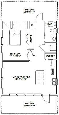 Details about 24×32 House — 1 Bedroom 1.5 Bath — 851 sq ft — PDF Floor Plan — Model 7D