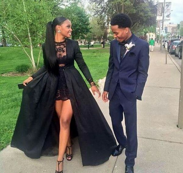 Black lace sheer prom ball gown natural straight hairstyle for black girl