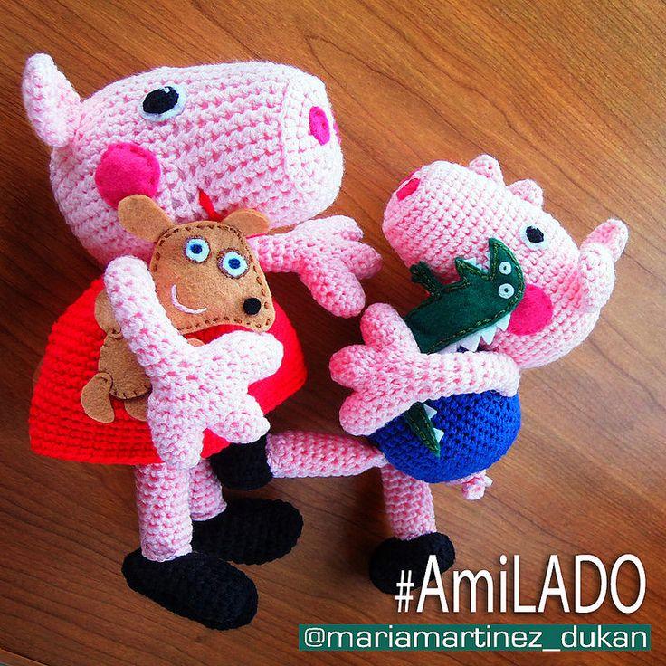 How To Crochet Peppa Pig Purse Bag Free Pattern Tutorial By Marifu6a : Peppa PIG, George, Teddy y Dinosaurio (Maria Martinez ...