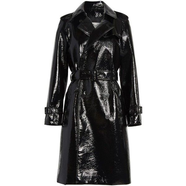 Women's Diane Von Furstenberg Patent Trench Coat (1895 TND) ❤ liked on Polyvore featuring outerwear, coats, patent leather coat, longline trench coat, trench coats, diane von furstenberg and longline coat