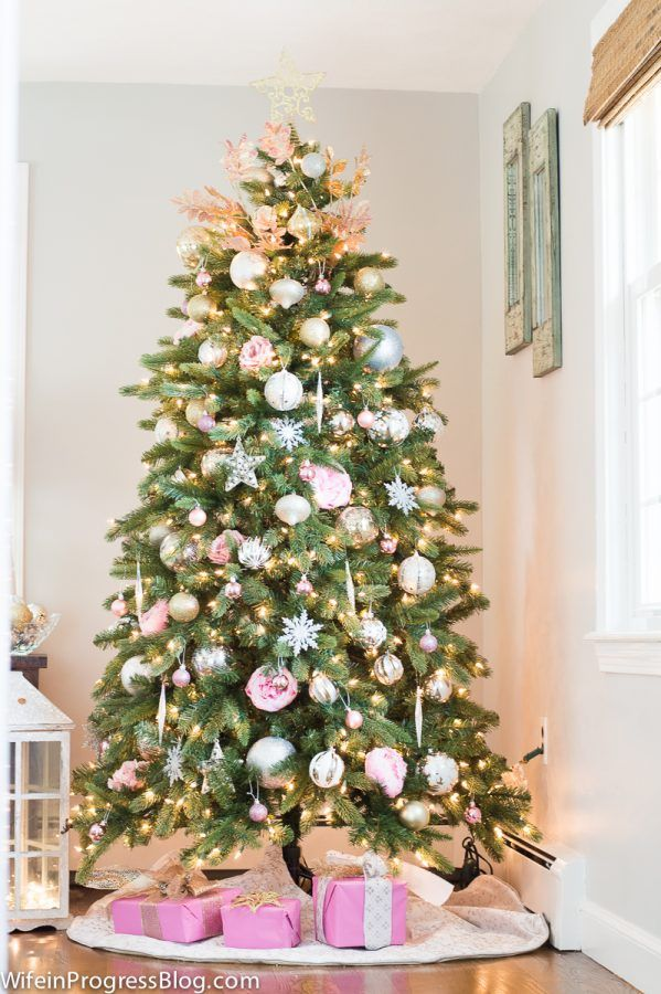 Pink Christmas Tree Decorations with decorations from the Dollar Store,  Michael's and Pier 1 - Pink Christmas Tree Decor - Pink Is The New Red This Season Pink