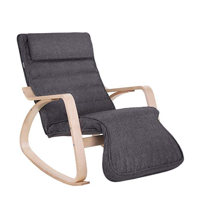 Songmics Relax Rocking Chair Lounge Chair Recliners Gliders With 5 Way Adjustable Footrest Natural Frame With Grey Cushion Ulyy42gy Review Rocking Chair Ikea Lounge Chair Rockers Rocking Chairs