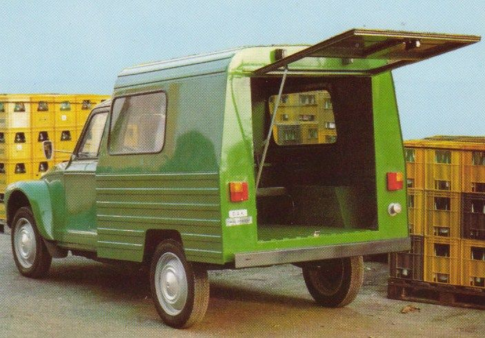 Citroen Dak was hybrid: chassis from Citroen 2CV AK400, suspension from Citroen Ami Super, cab from Citroen Diana 6LC (Diana in Yugoslavia - Dyane in France), roof and cargo area are designed by Cimos (manufacturer of Citroen cars form Yugoslavia). Dak was in production from 1982 to 1985 and approximately 2,200 pieces made.