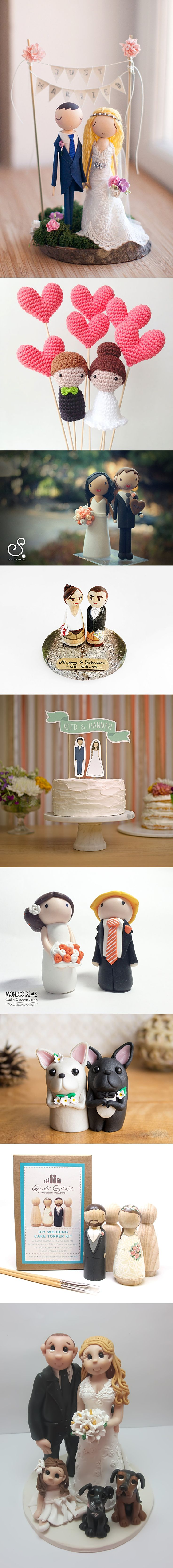 The cutest personalized wedding cake toppers EVER. Get a cake topper to be made to look like you and your future spouse. TOO ADORABLE!!