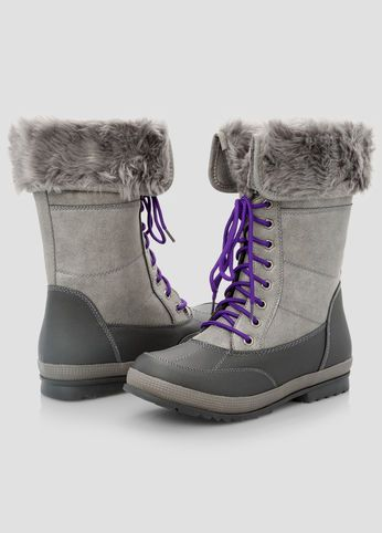Fur Trim All-Weather Boots - Wide Width