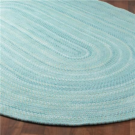 Coastal Colors Braided Chenille Rug:  Aqua blue, green butter, white