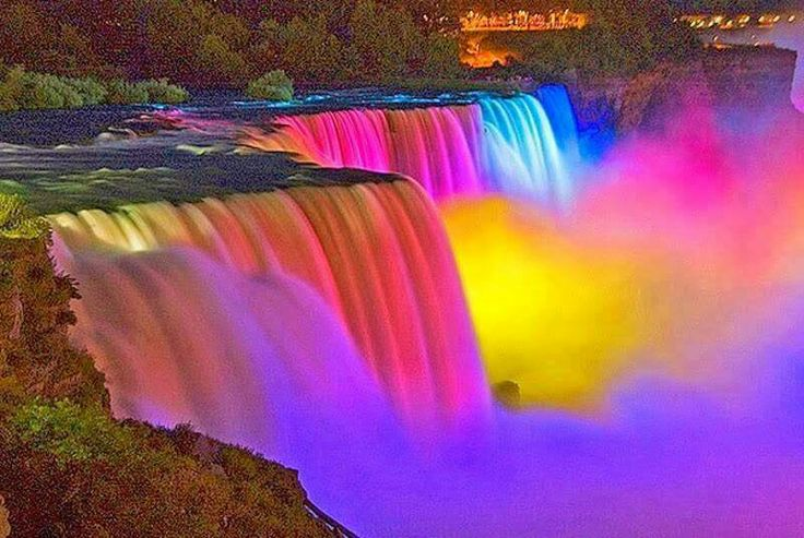 This is Niagara Falls Canada in the summer with the lights!! Beautiful place to go !!