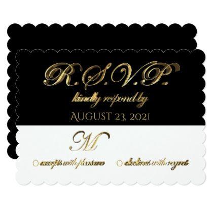 #wedding #responsecards - #Response Reply Wedding RSVP Black White Gold Card