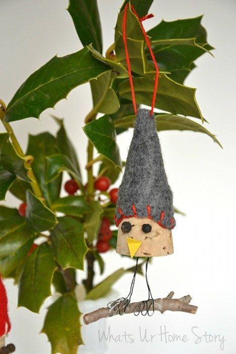 Whats Ur Home Story: Bird Wine Cork Ornaments, handmade christmas ornament, DIY ornament, wine cork diy: