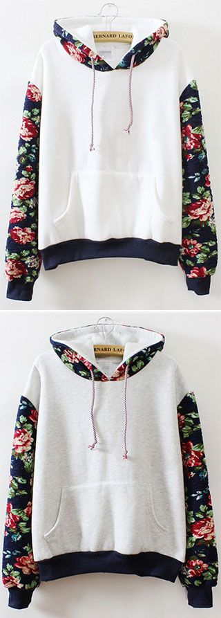 Come as you are... but throw some blooming flowers in there. The Floral Hooded Sweatshirt is made in white and light grey and features hooded drawstring design,beautiful flowers on arms and relaxed fit. Free shipping at CUPSHE.COM