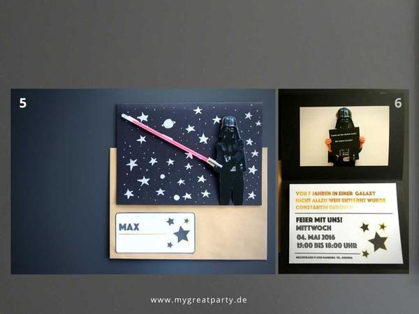 Einladungskarten Star Wars Kindergeburtstag Mit Knicklicht Als Lichtschwert.