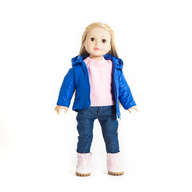 "Miss Lisa dressed in ""Pinky"" knitted sweather, ""Bubly"" jacket, ""Cool"" jeans and ""Flower dream boots from MissMiniMe® 18 inch dolls"