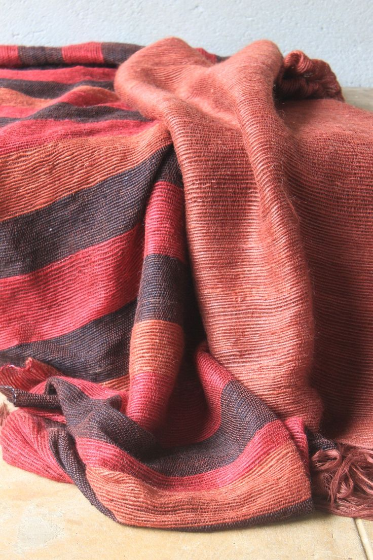Striped and plain mohair blankets