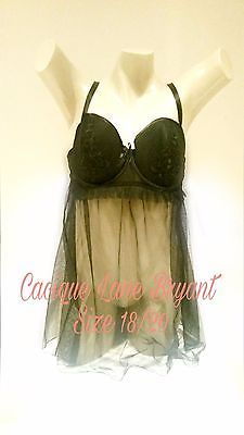 Cacique Lane Bryant Plus Lingerie Black Nightie Chemise Babydoll Sheer & panty