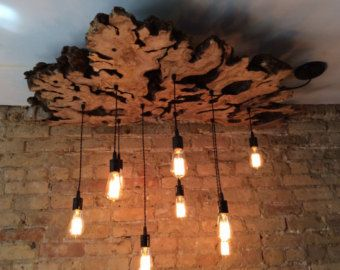 Create a Custom to order Live Edge Slab Light Fixture with Hanging Edison bulbs Fabric Wire. Rustic Industrial Chandelier Check description