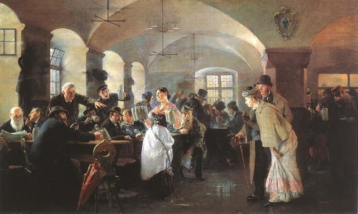 Philip Alexius de László: In the #Hofbräuhaus in #Munich, 1892. Oil on canvas, 78,5 x 128,6 cm, Hungarian National Gallery, Budapest