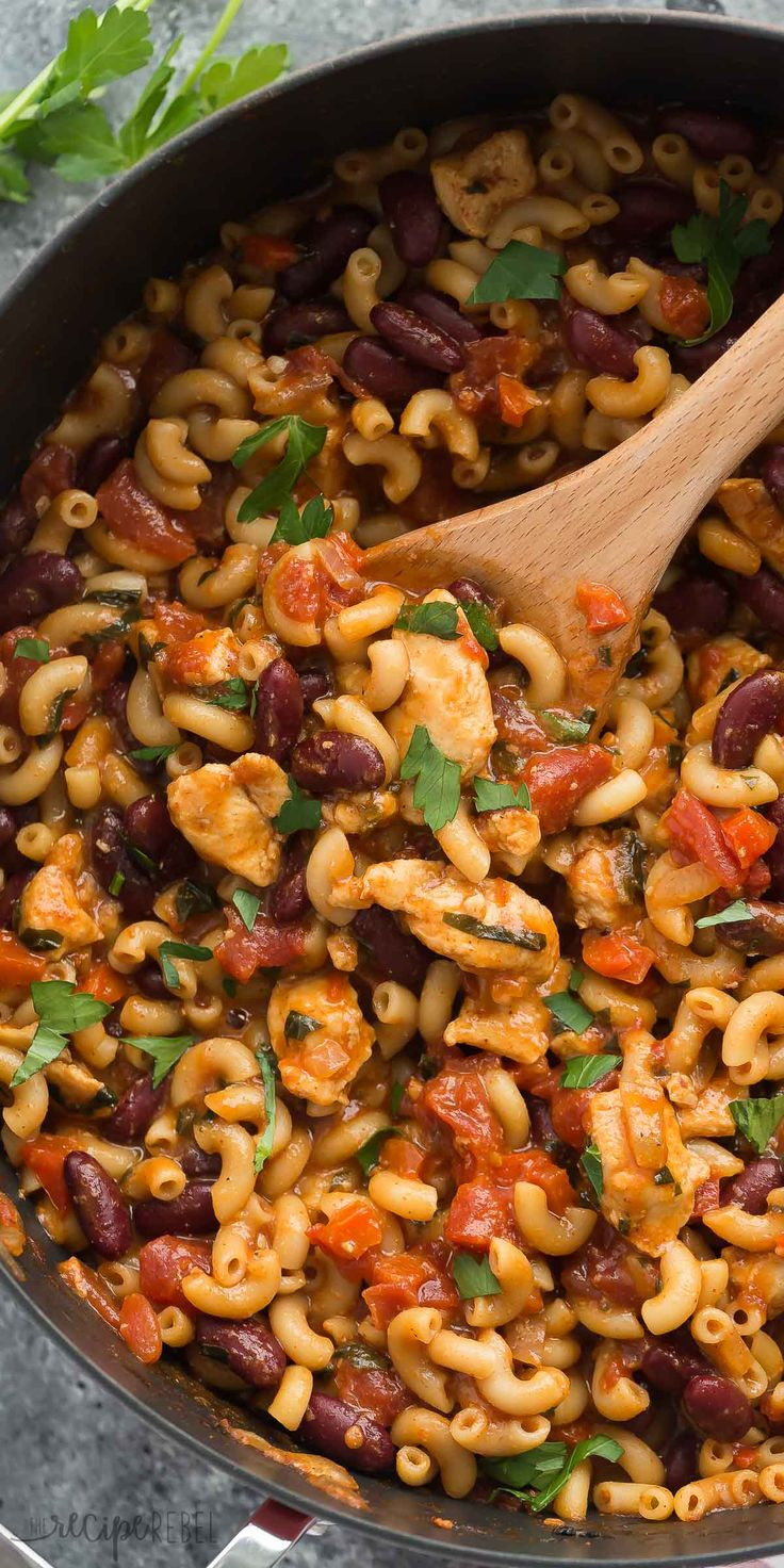This One Pot BBQ Chicken Chili Mac is the perfect meal in one! It's loaded with protein, fiber, veggies and made in one skillet in 30 minutes! An easy, healthy weeknight meal. Kid friendly   easy recipe   healthy recipe   macaroni   mac and cheese