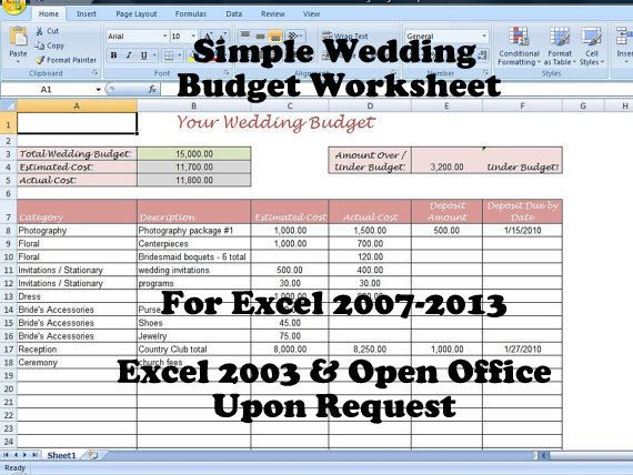 Wedding Budget Spreadsheet Uk | Midway Media