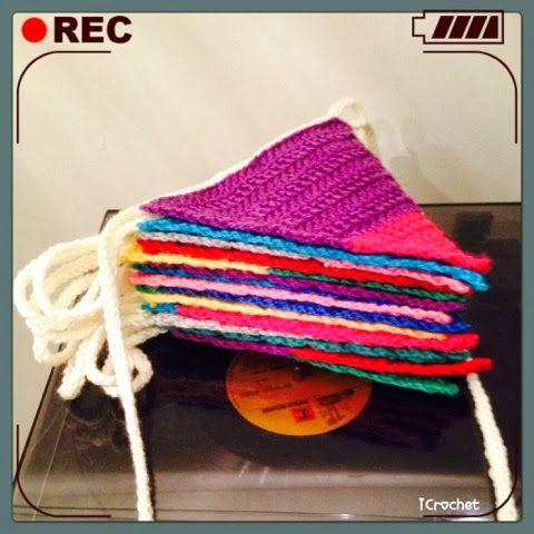 Jaaaaah! Duurzame verjaardagsvlaggetjes!! Happy birthday! Nodig: Haaknaald 5 mm Alle kleurtjes wol, restjes opmaken! Vertaaltabel haaktermen...