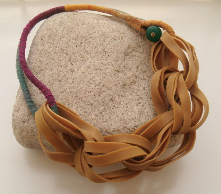 necklace with silky textile and rubbers