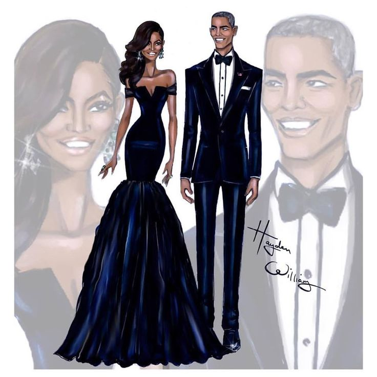 First Lady Michelle Obama & President Barack Obama at the China State Dinner #FLOTUS #POTUS Vera Wang@ Hayden Williams Illustrations