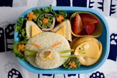 I love the Bento box idea.  So cute...maybe this is how I can get my kid to start eating something other than Cheez-its!: Bento Lunches, Kitty Cat, Kids Lunches, Easy Bento, For Kids, Lunches Boxes, Lunches Ideas, Boxes Lunches, Healthy Lunches