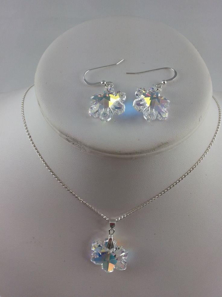Swarovski snowflake earring & pendant set, sterling silver chain and ear hooks.