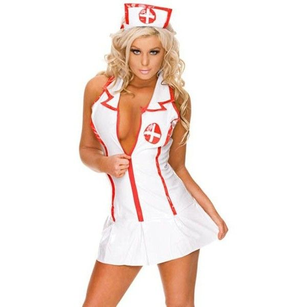 Sexy Head Nurse Costume (430 ARS) ❤ liked on Polyvore featuring costumes, white halloween costumes, sexy nurse halloween costume, summer costume, sexy costumes and sexy halloween costumes