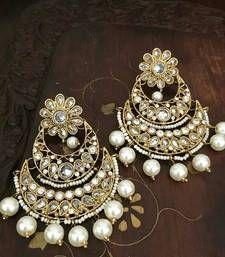 Buy Chand Bali crystal EARRINGS CHANDELIER GOLD PLATED WHITE PEARL danglers-drop online