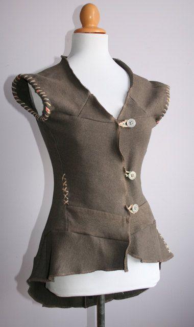 Items similar to Upcycled Recycled Taupe Sleeveless Sweatshirt Blazer Top S M on Etsy