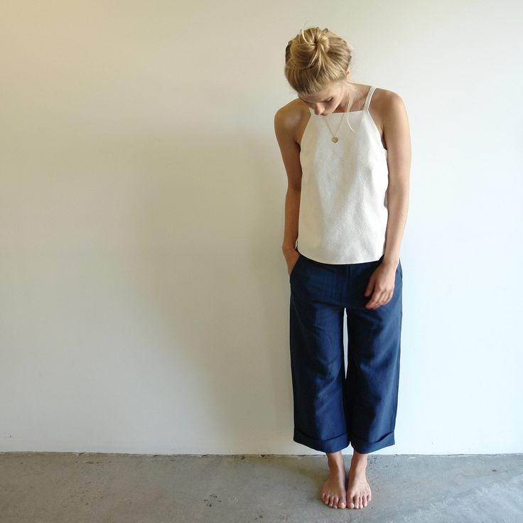 Cuffed Linen Trouser by Shades of Grey