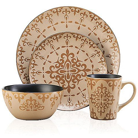 Regal designs in a variety of prints and patterns make the Mix and Match Vintage 16-Piece Dinnerware Set from Pfaltzgraff a fun choice. Set includes 4 dinner plates, 4 salad plates, 4 bowls and 4 mugs with assorted designs.