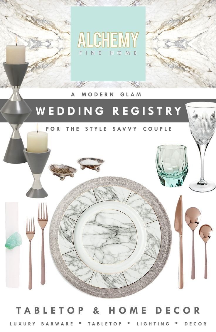 Alchemy fine home a modern glam wedding registry for for At home wedding registry