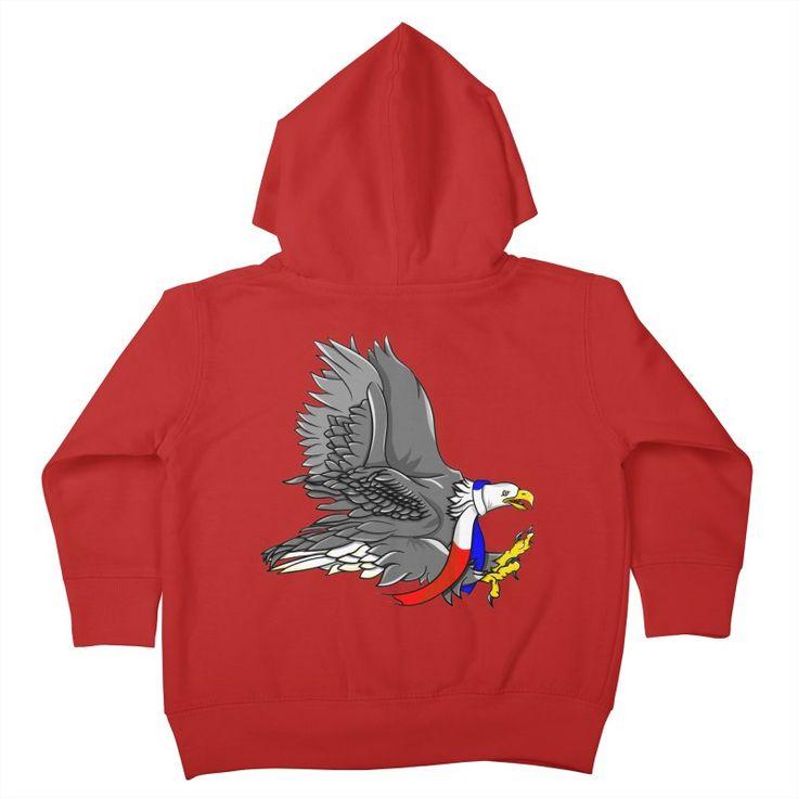 Bald Eagle Cartoon Illustration Kids Toddler Zip-Up Hoody by earlykirky's Artist Shop
