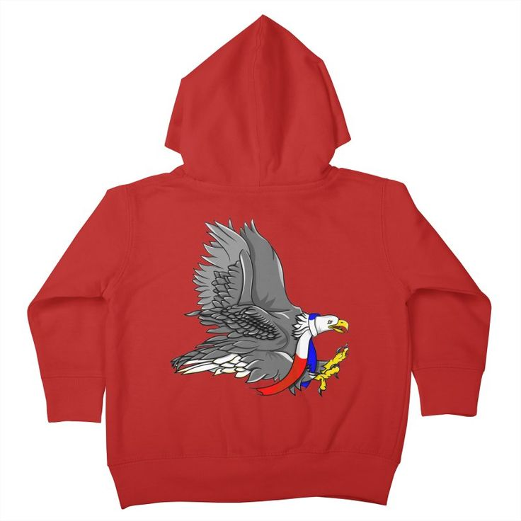 Bald Eagle Cartoon Illustration Kids Toddler Zip-Up Hoody by earlykirky's Artist Shop
