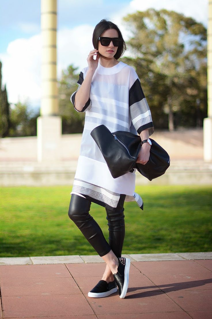 50 Spring Outfit Ideas to Copy ASAP | StyleCaster - Not quite ready to go bare-legged yet? Wear a dress, but replace tights with a cool pair of cropped leather leggings.  Photo: Fasihon Vibe   Read more: http://stylecaster.com/spring-outfit-ideas/#ixzz3WwRU7W5z