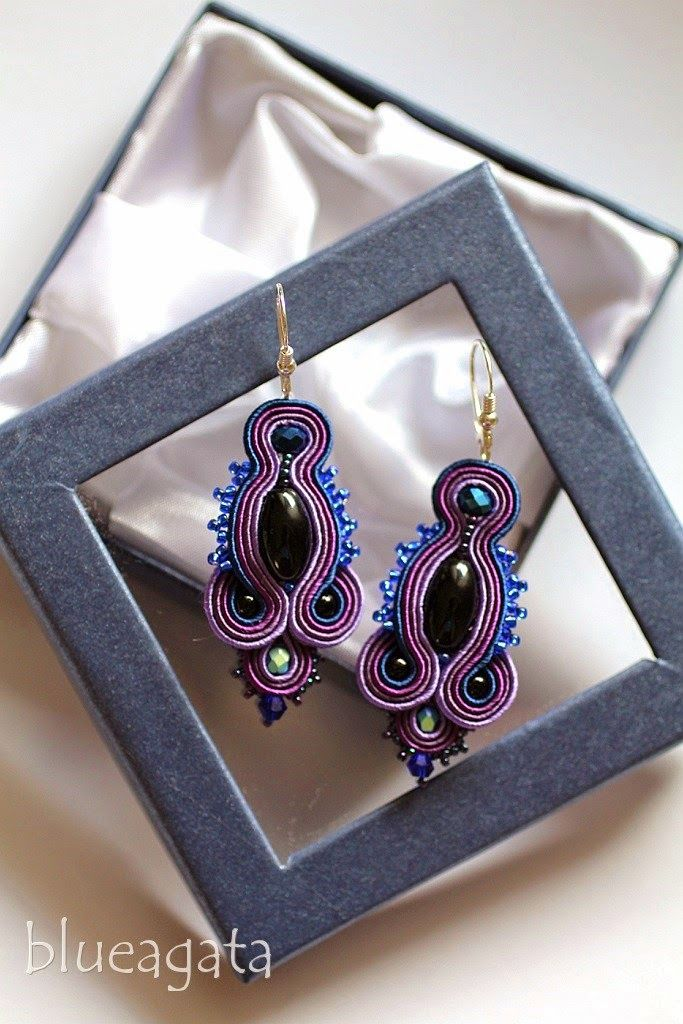blueagata: Purple soutache earrings with onyx
