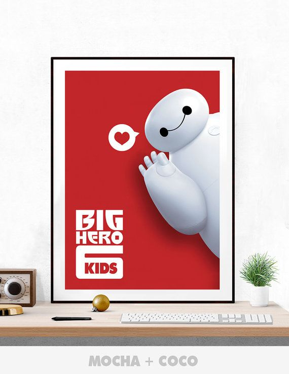 Big Hero 6 Kids Poster, Modern Wall Art, Cute Children's Wall Decor, Kids Room, Printable Mocha + Coco, INSTANT DOWNLOAD