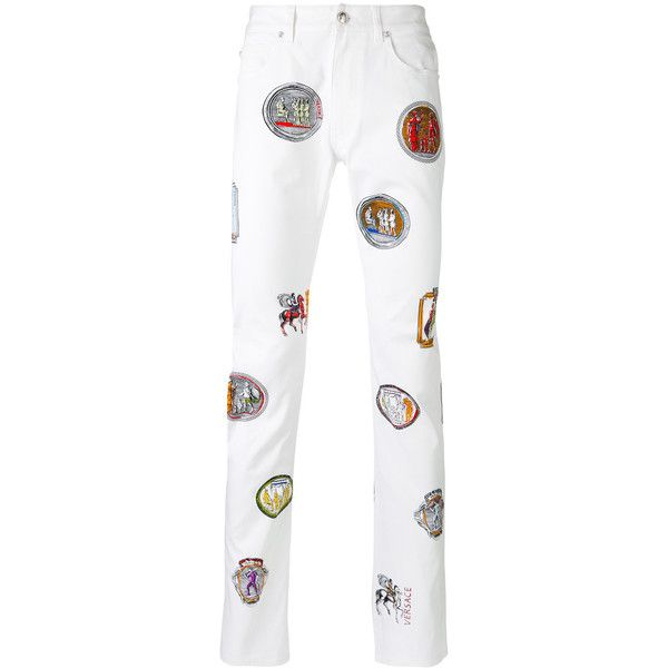 Versus patch detail trousers (€1.025) ❤ liked on Polyvore featuring men's fashion, men's clothing, men's pants, men's casual pants, white, colorful mens pants and mens white pants