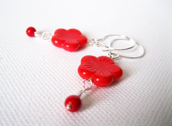 Red Cherry Blossom Sterling Silver Earrings  by blossomingsilver, £18.00